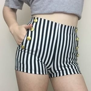 FOREVER 21 Striped Shorts with Buttons